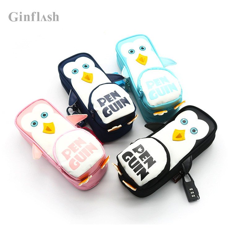 1pc Pencil Case penguin Kawaii School office Supplies kid Stationery Gift Cute Pencil Box holder Bag color random with lock random color hook 1pc