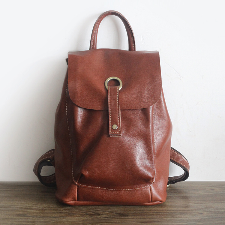 Vintage Genuine leather women smooth surface water washing backpack ladys cow leather Leisure knapsack cowhide school packVintage Genuine leather women smooth surface water washing backpack ladys cow leather Leisure knapsack cowhide school pack