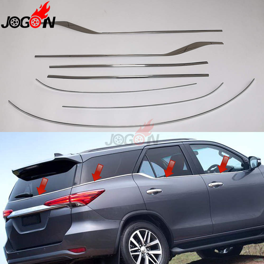 7pcs For Toyota Fortuner AN150 AN160 SW4 2016 2019 Car Side Door Under Bottom Window Molding