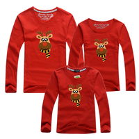 New Family Matching Outfits 2016 Spring Autumn Christmas Deer Long Sleeve T Shirt Mother Son Daughter