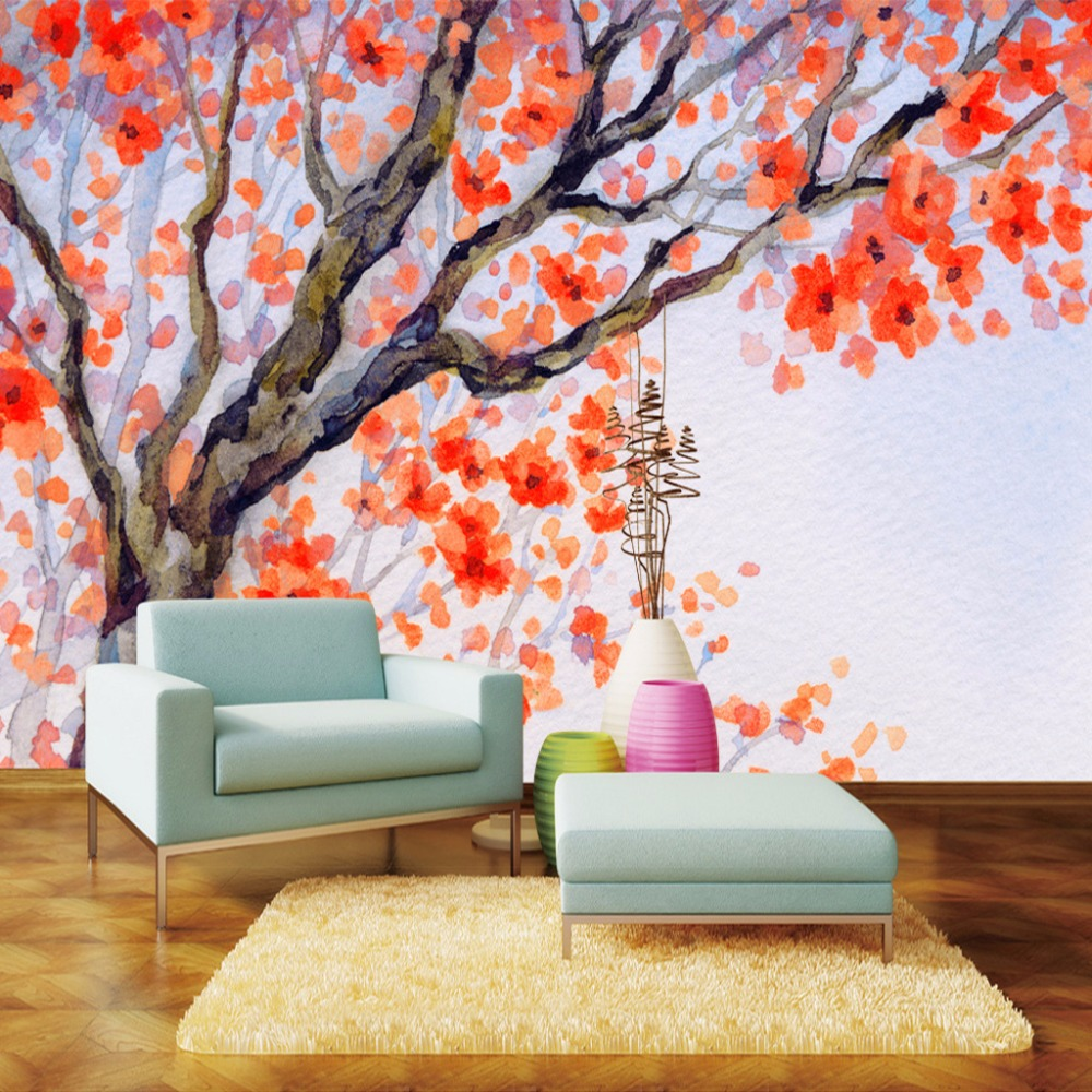 Flower watercolor wallpaper promotion shop for promotional for Custom mural painting