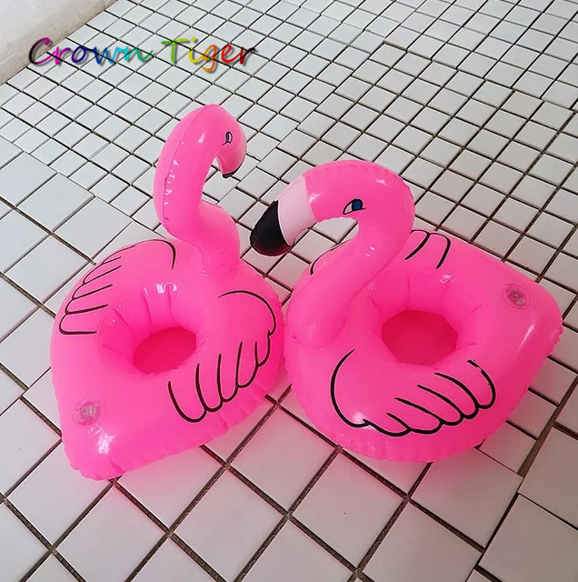 Mini Cute Funny Kids Bath toys Red Flamingo waterFloating Inflatable Drink cup Holder for phone Swimming Pool summer Beach Party