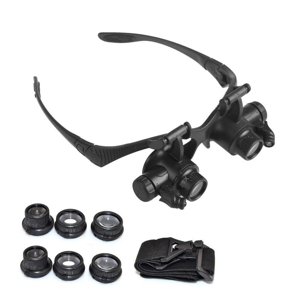 Óculos de segurança Óculos de Reparação do Relógio Lupa Óculos Com Luz LED  e 4 Pares de 10 15 20 25X Lente para o Reparo Jóias Relógios em Óculos de  ... b0f148f994