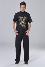Black Traditional Chinese style Men's Embroidery Shirt Pants Kung Fu Suit Clothing Sets S M L XL XXL XXXL