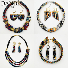 Dandie Stylish ethnic style cloth rope necklace with a set of earrings, vintage, simple feminine accessories цена