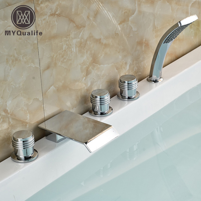 Chrome 5Pcs Widespread Waterfall Bathtub Roman Tub Faucet Bath Shower Mixer  Taps Deck Mount