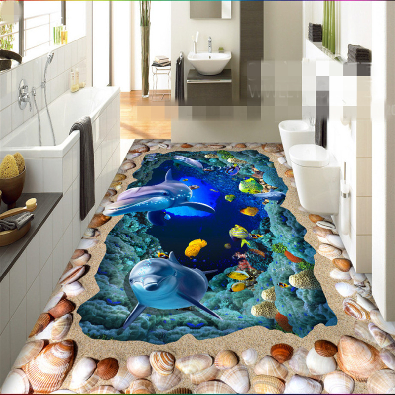 Beibehang Custom 3D Wallpaper Mural Ocean World Dolphin 3D Floor Tiles Bathroom Self-adhesive 3D wallpaper papel de parede beibehang custom papel de parede 3d photo wallpaper living room bathroom floor stickers waterproof self adhesive wallpaper mural