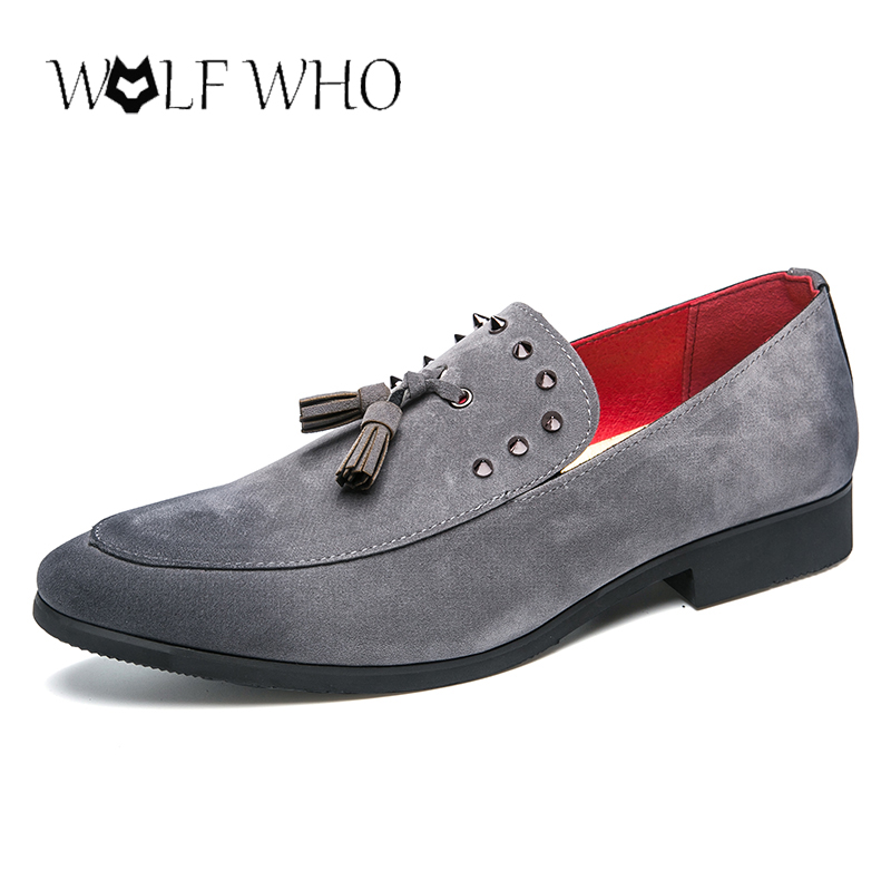WolfWho Men Rivet Loafers Shoes Suede Leather Party Prom Oxfords Handmade Tassel Loafers Large Size 38-45 Gray Designer Shoes suede