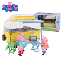 New Genuine Peppa Pig George HolidayFamily Truely Scene Camping Car Model Educational Toy Best Birthday Gifts Toys For Kids