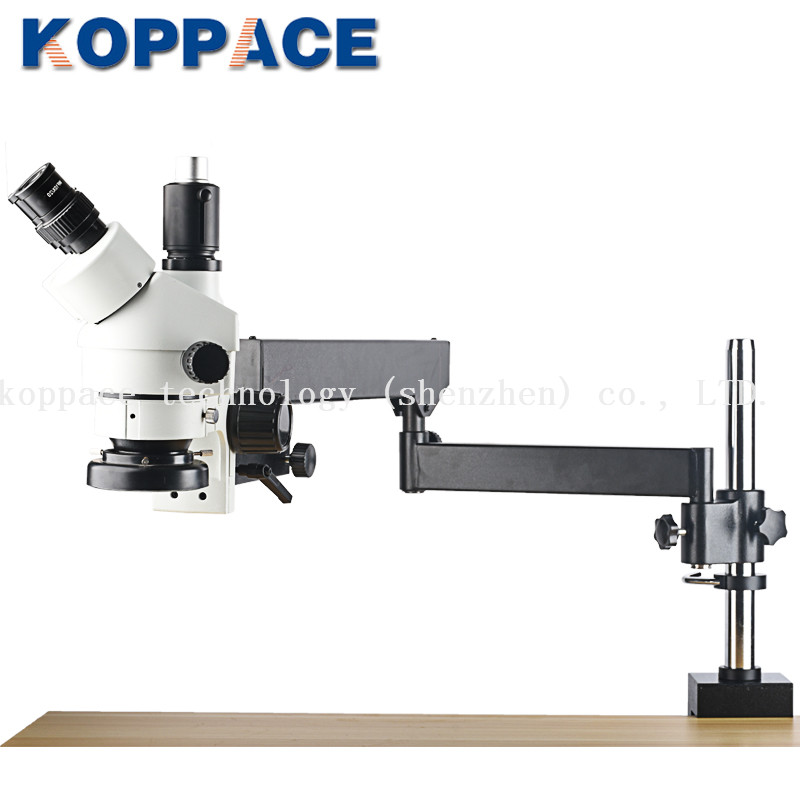 Microscope à Zoom stéréo trinoculaire KOPPACE, oculaires WF10X/20, microscope de réparation de téléphone portable 7X-45X, anneau lumineux 144 LED