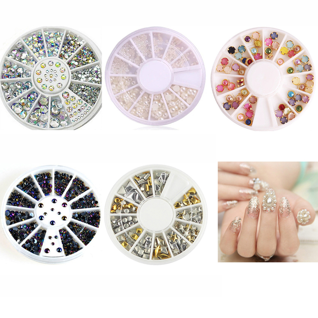 5pcsset 3d Nail Art Box Charms Shiny Pearl Studs Rhinestones For