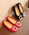 Размер 21-31 дети симпатичные искусственная кожа плоские туфли малыш весной и осенью прохладно обувь ребенок алмаз украшения скольжения на обувь