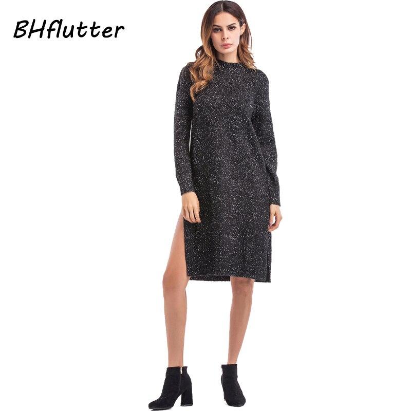 BHflutter 2017 Новый зима женщины платье с длинным рукавом o шеи Винтаж трикотажное платье сплит сексуальная черный свитер платья vestidos женщина