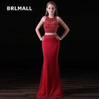 2018 Due Pezzi Prom Dresses Crop Top Spandex Rosso Perline di Cristallo Della Sirena Custom Made Piano Lunghezza Abiti Da Sera