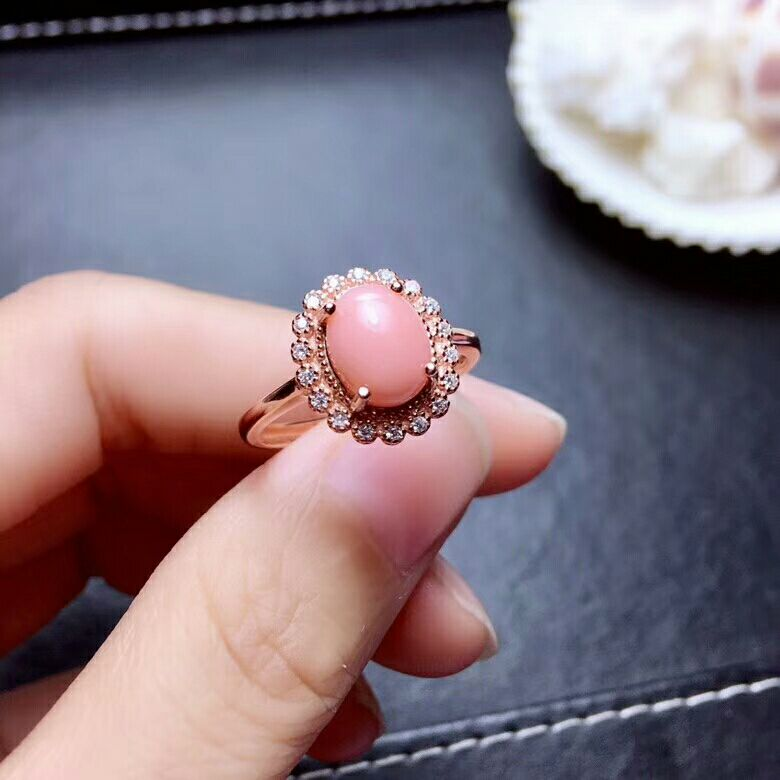 MeiBaPJ The Spirit of the Sea Precious Pink Natural Coral Gemstone Ring for Women Real