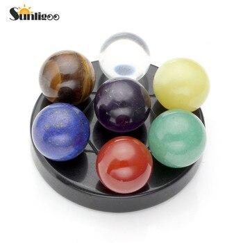 Sunligoo чакра, целительная семерная Звездная группа, натуральный аметист, чакра, Кристальный шар и черный обсидиан, подставка, рейки, энергетические камни