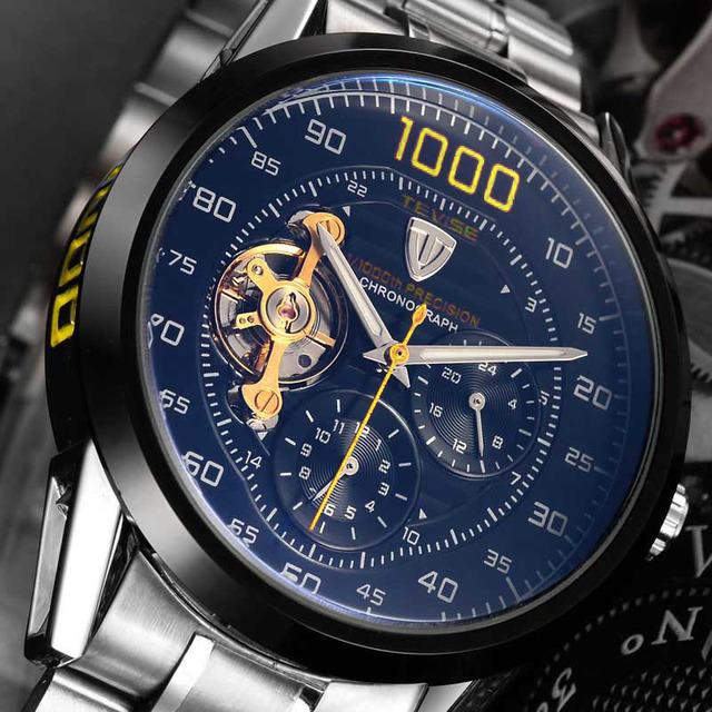 Tevise Brand Fashion Luxury Relogio Men's Watches Automatic Watch Self-Wind Clock Male Business Waterproof Mechanical Watches