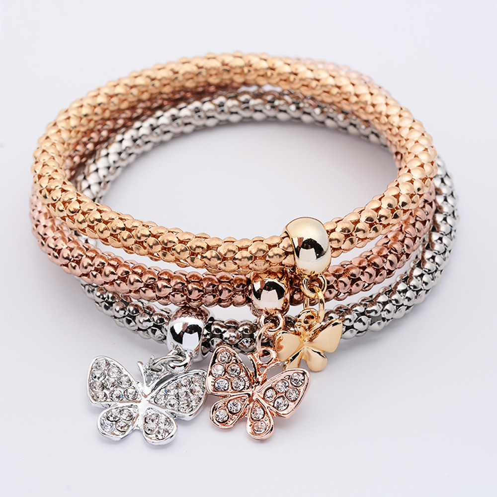 Zerotime #H5 2019 NEW FASHION 3Pcs Women Pulseiras Butterfly Pendant Bracelet Multilayer Bracelet elegant Free Shipping