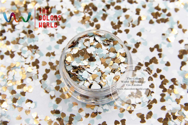 HHM3-298 Mix Colors Heart shapes Metallic luster 3.0MM Size Glitter for nail art makeup and DIY decoration hr25 148 mix 2 5 mm pastel matt pearlescent colors heart shape glitter for nail art and diy supplies1pack 50g