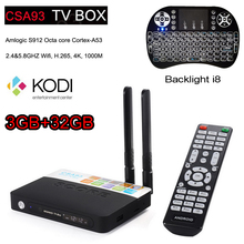 3 ГБ 32 ГБ CSA93 Amlogic S912 Окта основные Android 6.0 TV Box 2.4/5 Г Wi-Fi H.265 4 К 1000 М Смарт Meida Player добавить i8 Клавиатура подсветка