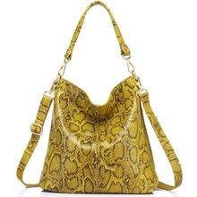 Женская сумка из натуральной кожи со змеиным узором REALER