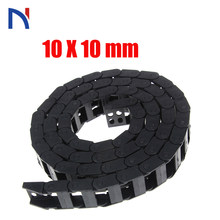 Plastic Transmission Drag Chain 10 x 10mm L1000mm Cable Drag Chain Wire Carrier with End Connectors for CNC Router Machine Tools(China)