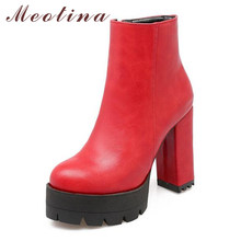 Meotina Winter Ankle Boots Women High Heel Motorcycle Boots Platform Boots Round Toe Block Heel Short Boots Female Shoes Black(China)