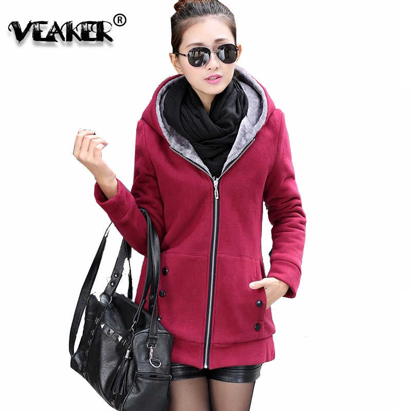 2018 frauen Fleece Mit Kapuze Jacken Herbst Winter Schlank Hoodies Sweatshirts Langarm Warme Pelz Langen Mantel Jacke M-4XL