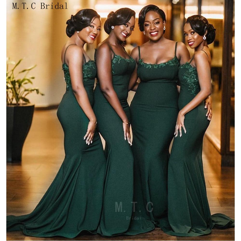 Dark Green African   Bridesmaid     Dresses   Wholesale Strapless Spaghetti Strap Mermaid Long Maid Of Honor   Dress   Cheap 2019 New