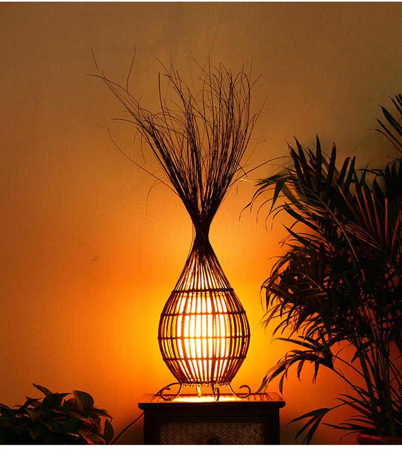 Творческая настольная лампа спа-клуба, настольная лампа из ротанга, украшение гостиной