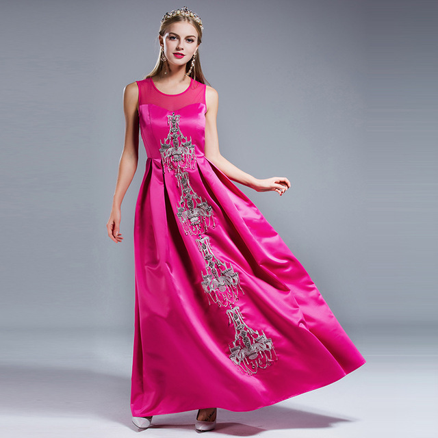 45206853d920f New Runway Designer Maxi Dresses Women s High Quality Hand-Made Embroidery  Beading Sleevless Long Party Dress Free Fast DHL