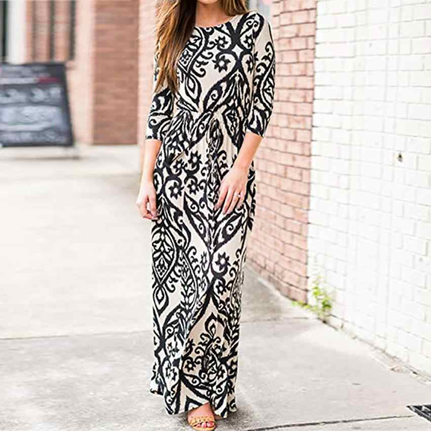 432b9fbb1437 KANCOOLD Dress Women Print Three Quarter Sleeve High Waist Boho Long Maxi  A-Line With