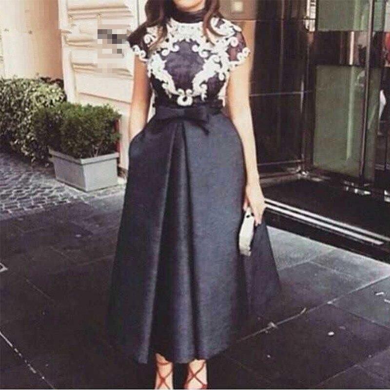 Arabic Style Tea Length Black Evening Gown 2018 Short Party Robe De Soiree Longue Vestido De Festa Mother Of The Bride Dresses