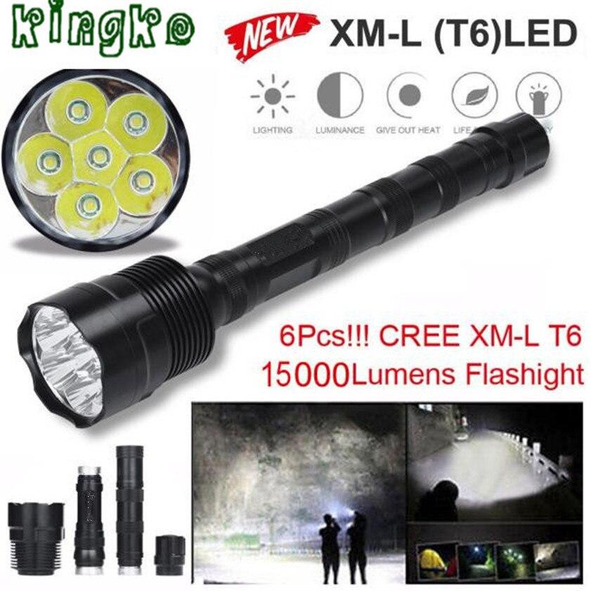 High Quality Tactical 15000 Lumen 6 x XML T6 LED Flashlight Torch Light 5 Modes 18650 Hunting1.22