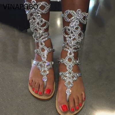 Handmade Factory Price Rhinestone Lady Knee High Gladiator Boots Summer Designed Crystal Flats Sandal Boots Shoes
