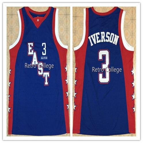 3 ALLEN IVERSON 2004 All Star east hommes basket-ball Jersey broderie cousu personnaliser n'importe quel numéro de nom
