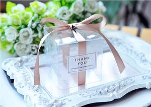 Image 4 - 5x5x5cm PVC Clear Candy Boxes Wedding Decorations Party Supplies Gift Box Baby Shown Favors Candy Box with Ribbon