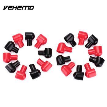 20 piezas-Botas de Terminal, cubiertas aislantes de batería, cubiertas de goma, redondas, negras y rojas 2
