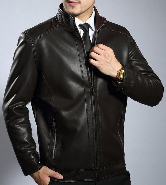 New Brand Men's Leather Jacket Man Jaqueta De Couro biker leather jackets For Men Bomber Jacket Leather Coat Male Free Shipping