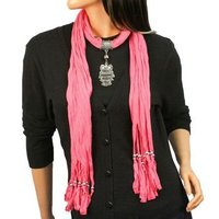 Cotton Soft Charm Pendant Scarves Jewelry Necklace Scarf 20 Style Mix Color