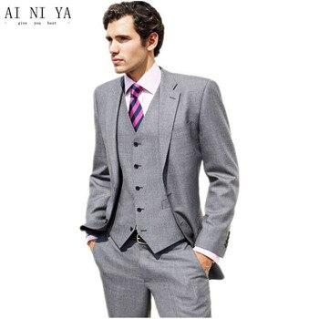Custom made men suits tuxedos fashion pure color mens formal suits three-piece men wedding suits (jacket+pants+vest)
