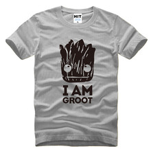 GUARDIANS OFTHE GALAXY I AM GROOT Movie Printed Men's T-Shirt T Shirt For Men 2016 Short Sleeve O Neck Cotton Novelty Top Tee