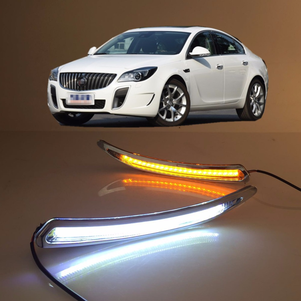 1Set Car LED Daytime Running Light DRL Fog Lamp Cover for 2010-2014 Buick Regal GS DRL With Yellow Turn Light auto clud car styling for buick regal gs led drl for regal gs led daytime running light high brightness guide led drl b style