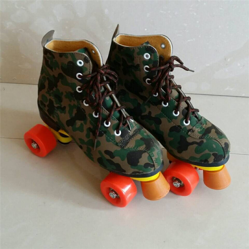 Children Adult Double Roller Skates Figure Skate Two Line Roller Skate Patins Unisex Patins For Kids Camouflage Skate Shoes IB23 vik max factory outlet white figure skate shoes two size left ice skate shoes cheap figure skate shoes