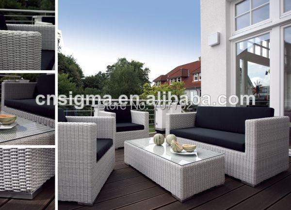 Cómodo patio al aire libre muebles de ratán salón barato sofá blanco ...