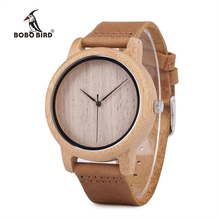 BOBO BIRD Mens Casual Wooden Watch Plain Wood Dial Bamboo Case Quartz-watch With Leather Strap horloges mannen V-A19
