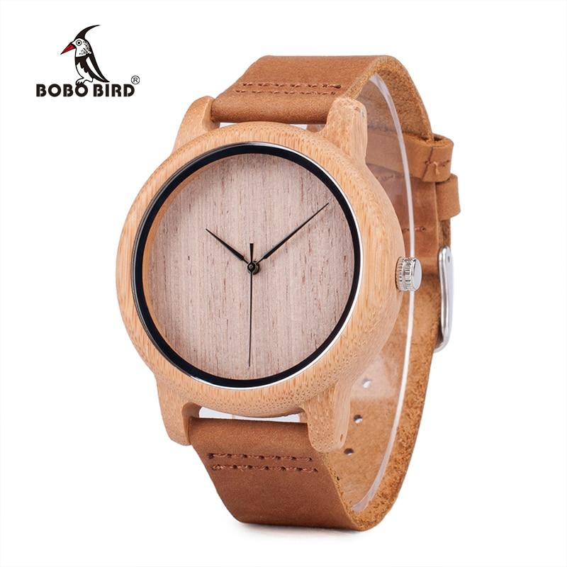 BOBO BIRD V-A19 Ανδρικό Casual Ξύλινο ρολόι Plain Wood Dial Μπαμπού Θήκη χαλαζία-ρολόι με δερμάτινο λουράκι horloges mannen 2017