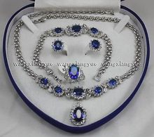hot sell new – Genuine Blue Inlay Link Bracelet earrings Ring Necklace Set  watch Quartz stone CZ