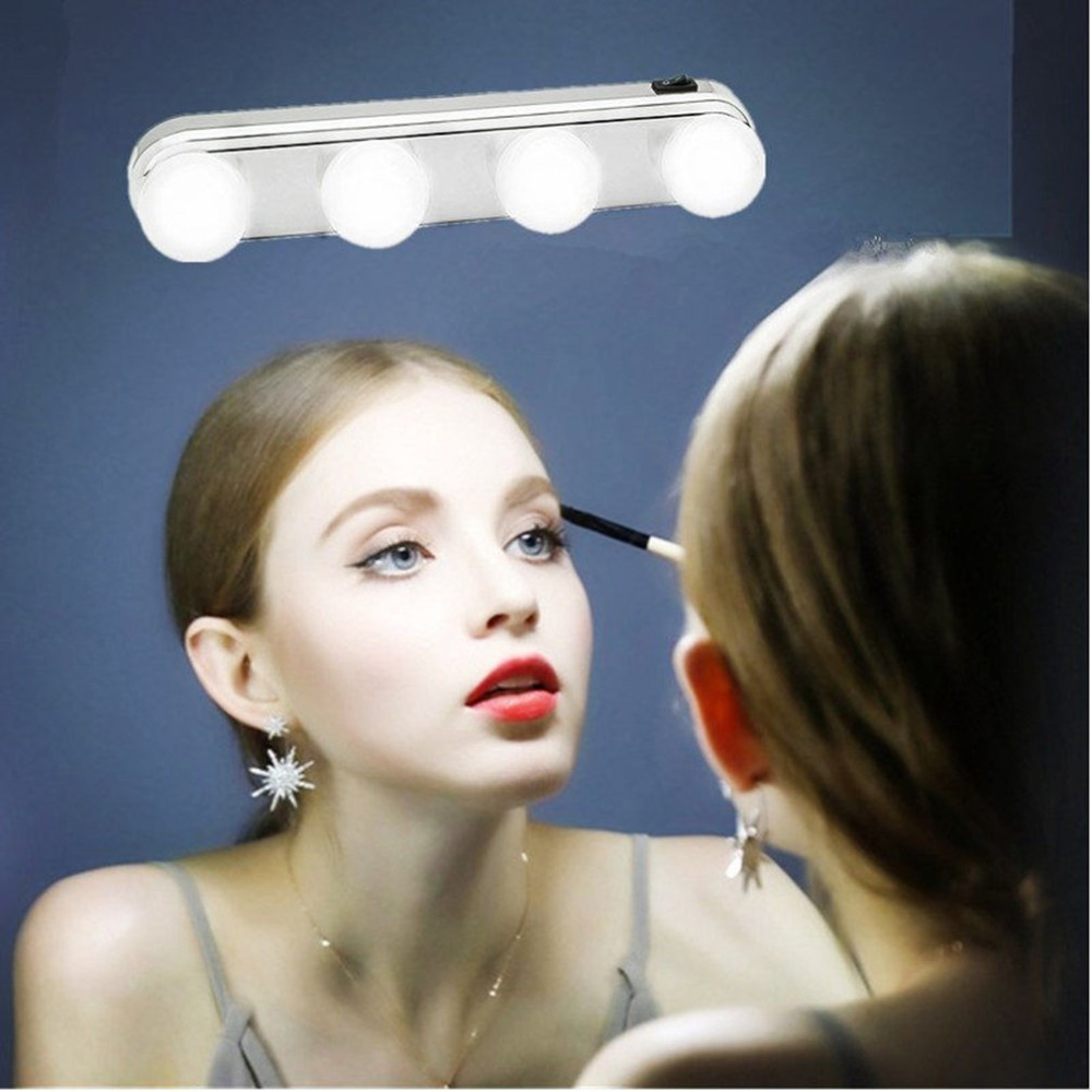 4 Bulb Mirror Headlights Installed Convenient Suction Cup Makeup Lamp LED Mirror Light Battery Powered Gift