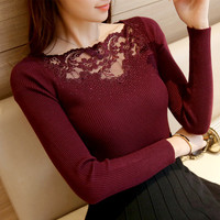 And Winter Hot Stretch Lace Knitting Render Unlined Upper Garment Of Cultivate Morality Low Drill Collar